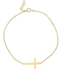 Dimaya 14k Yellow or White Gold Sideways Cross Chain Bracelet