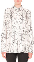 Proenza Schouler Vine-Print Long-Sleeve Blouse, White/Black