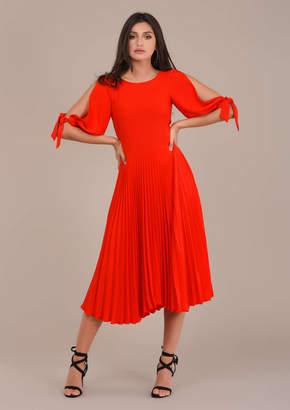 Closet London Orange Pleated Tie Sleeve Dress - 14 - Orange