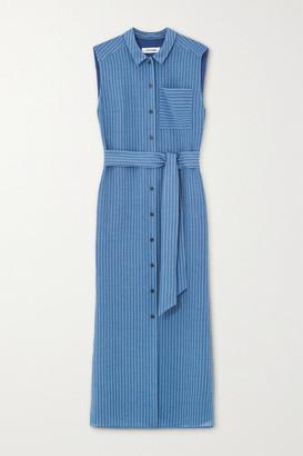 Cefinn - Ursula Belted Pinstriped Voile Midi Shirt Dress - Blue