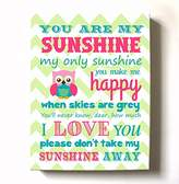 MuralMax Adorable You Are My Sunshine Bedtime Story Rhyme - Woodland Owl Design - Stretched Canvas Nursery Wall Art Decor - Baby Gift idea - High Quality 100% Wooden Frame Construction - Ready To Hang 20X24