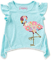 Flapdoodles Little Girls 2T-6X Flamingo Fun Sharkbite-Hem Cold-Shoulder Top