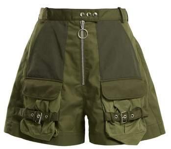 Marques Almeida Marques'almeida - Patch Pocket High Rise Shorts - Womens - Khaki