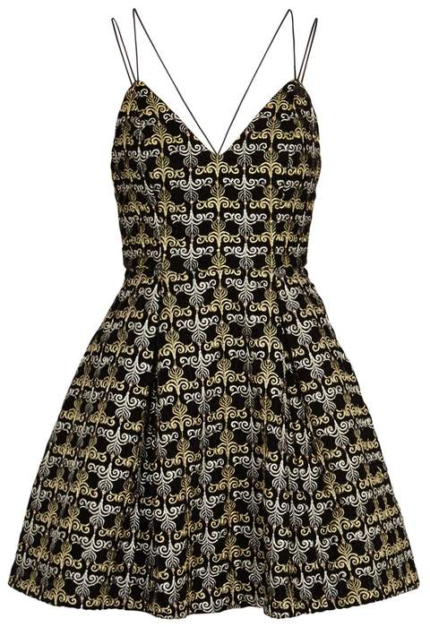 Alice + Olivia Marilla Metallic-embroidered Velvet Dress