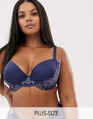 Dorina full cup light padded lace bra in dark blue-Navy