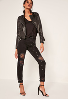 Missguided Black Studded Ripped Mom Jeans