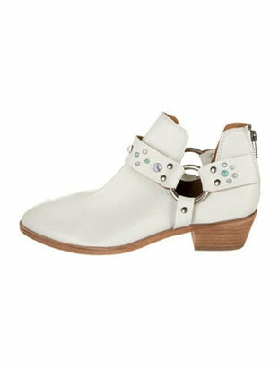 Frye Leather Studded Accents Boots White