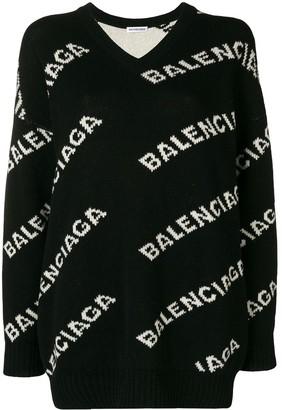 Balenciaga V-neck logo jumper