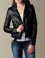 Women's Lace-Up Biker Leather Motorcycle Jacket - Black