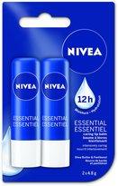 Nivea Essential Caring Lip Balm Sticks, Duo Pack, 2 x 4.8g