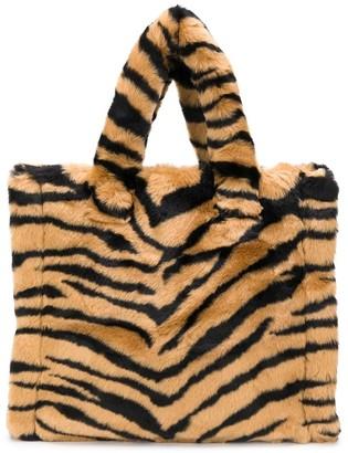 Stand Studio Tiger Print Faux Fur Tote Bag