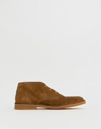 Selected suede desert boots in tan