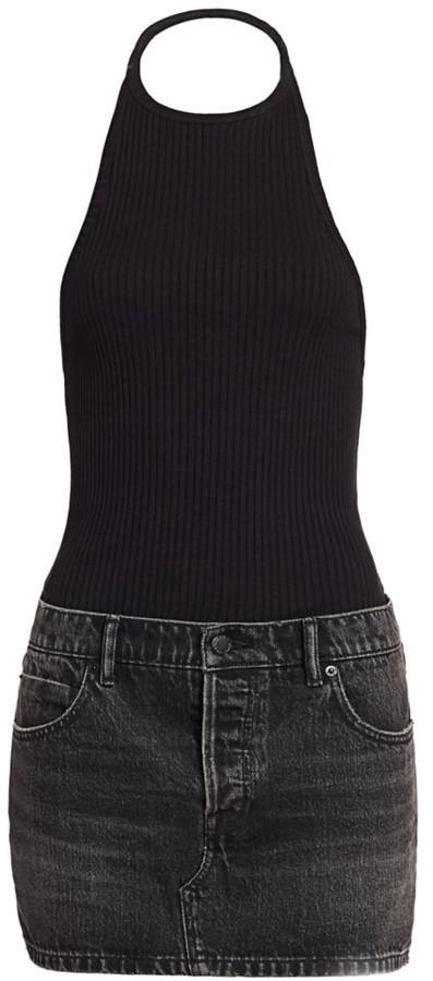 Alexander Wang Hybrid Knit & Denim Halter Dress