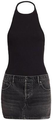 Alexander Wang Combo Knit & Denim Halter Dress