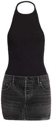 Alexander Wang Hybrid Knit & Denim Halter Dress
