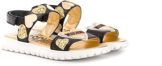 MOSCHINO BAMBINO TEEN heart-embellished logo sandals