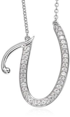 Shop Lc Silver Initial U Alphabet Pendant 20'' Zircon Chain Necklace ct 0.85 - Size 20''