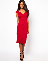 Asos Sexy Pencil Dress With V Neck And Pockets