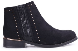 Linzi MARIELLE - Black Suede Ankle Boot with Snake & Stud Detailing