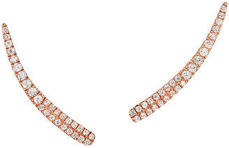 Graziela Gems Curve Rose Gold Over Silver 0.56 Ct. Tw. Natural White Zircon Ear Climbers