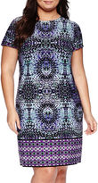 London Times London Style Collection Short-Sleeve Prism Border Sheath Dress - Plus