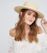South Beach Straw Boater Hat with Crochet Band