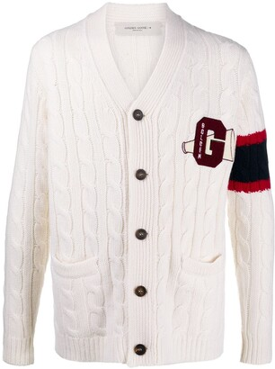 Golden Goose Logo Patch Cable Knitted Cardigan