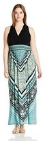 London Times Women's Plus-Size Halter Scarf-Print Maxi Dress