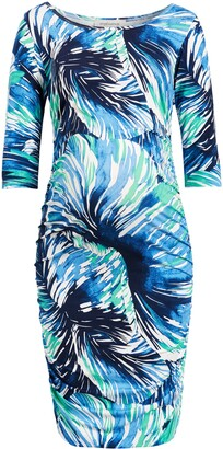 Angel Maternity Print Side Ruched Maternity Body-Con Dress