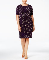 Connected Plus Size Polka-Dot Faux-Wrap Sheath Dress