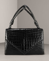 Patent Crocodile Envelope Bag