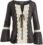 August Silk Black & White Bell-Sleeve Tie-Accent Notch Neck Top