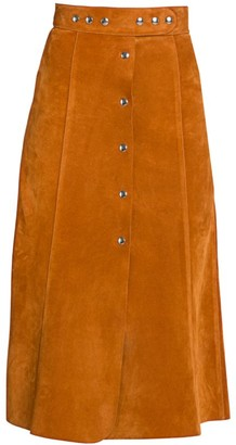 Prada Suede Snap Front Midi Skirt