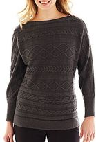Liz Claiborne Long-Sleeve Cable Sweater - Talls