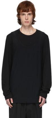 Juun.J Black Double Layer Long Sleeve T-Shirt
