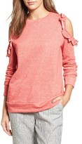 Women's Caslon Ruffle Trim Cold Shoulder Sweatshirt