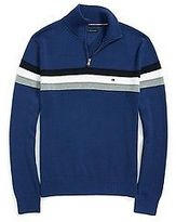 Tommy Hilfiger Men's Stripe Half Zip Mock Sweater