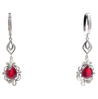 Rubis Non Signé / Unsigned Non Signe / Unsigned White White gold Earrings