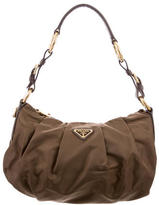 Prada Leather-Accented Tessuto Hobo