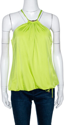 Roberto Cavalli Lime Green Jersey Halter Neck Top L
