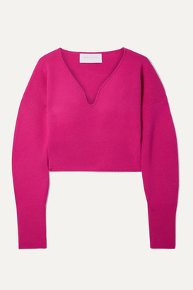 Esteban Cortazar Cropped Stretch-wool And Cashmere-blend Sweater - Fuchsia