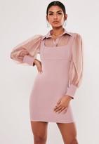 Missguided Blush Organza Sleeve 2 In 1 Mini Dress