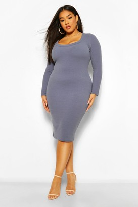 boohoo Plus Scoop Neck Ribbed Midi Dress