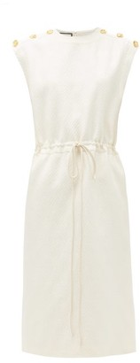 Gucci GG-stripe Drawstring Wool-blend Midi Dress - Ivory