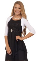 Hot From Hollywood Junior 3/4 Sleeve Cropped Rounded Back Design Style Bolero Fitted Ribbed Hemming Shrug