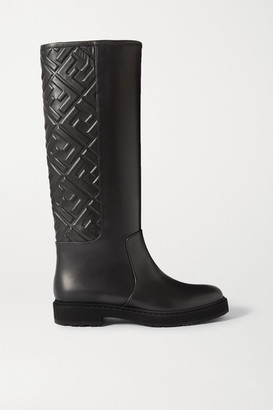 Fendi Logo-embossed Leather Knee Boots - Black