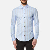 Vivienne Westwood MAN Men's Stretch Poplin Stripe Long Sleeve Shirt Sky