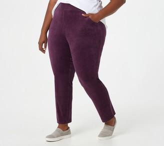 Denim & Co. Petite Velour Full-Length Slim Straight Pants