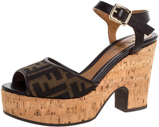 Fendi Tobacco Zucca Canvas and Leather Cork Wedge Platform Ankle Strap Sandals Size 36