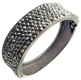 Zirconite Hinged Bangle with Crystals - Gunmetal